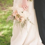 Peach Blooms and Floral Lace for Rustic Romance Bridal Bouquet | Bit of Ivory Photography | See More! http://heyweddinglady.com/hitched-rustic-romance-wedding-inspiration-orchestrated-stylized-shoots/