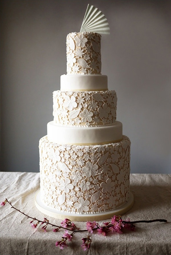 A Vintage Lace Wedding Cake In Ivory Charm City Cakes See More
