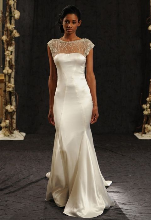 Bridal market 2015 three fab wedding dress trends hey wedding lady fitted silk wedding dress with illusion neckline anne bowen fallwinter 2014 reem junglespirit Images