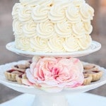 An Ivory Rosette Petite Wedding Cake | Studio Amy Luna | See More! https://heyweddinglady.com/whimsical-desert-wedding-inspiration-with-sweets-and-pastels/