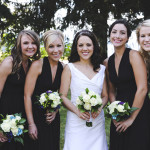 Bridesmaids in Classic Black | Tonie Christine Photography | See More! https://heyweddinglady.com/fresh-and-chic-modern-rustic-washington-wedding/