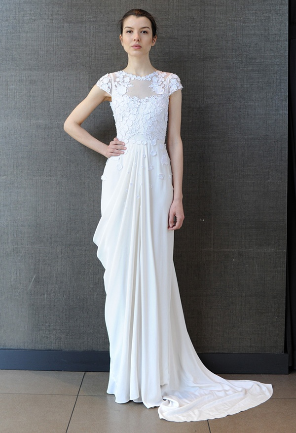 Modern grecian draped wedding dress temperley bridal summer 2014 via