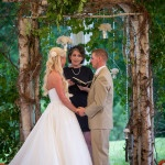 Beautiful Birch Wood Arch for a Romantic Spring Wedding Ceremony | Carla Ten Eyck | See More! https://heyweddinglady.com/joyful-peach-and-spring-green-connecticut-wedding/