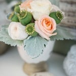 Peach Rose Centerpiece with Seed Pods and Lambs Ear | Carla Ten Eyck | See More! https://heyweddinglady.com/joyful-peach-and-spring-green-connecticut-wedding/