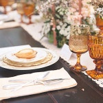 Orange and Yellow Vintage Glassware for a Romantic Rustic Wedding Table | Bit of Ivory Photography | See More! https://heyweddinglady.com/hitched-rustic-romance-wedding-inspiration-orchestrated-stylized-shoots/