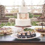 Elegant Rustic Wedding Dessert Display | Bit of Ivory Photography | See More! https://heyweddinglady.com/hitched-rustic-romance-wedding-inspiration-orchestrated-stylized-shoots/