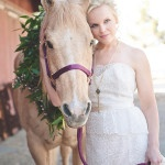 Can we talk about how adorable this horse is with is leaf garland?? | Bit of Ivory Photography | See More! http://heyweddinglady.com/hitched-rustic-romance-wedding-inspiration-orchestrated-stylized-shoots/
