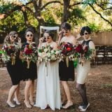 Boho Glam Bridal Party in Black Red and Gold for a Twenties Inspired Wedding! | Sur La Lune Photography | See More! http://heyweddinglady.com/twenties-style-meets-boho-glam-wedding-by-sur-la-lune/