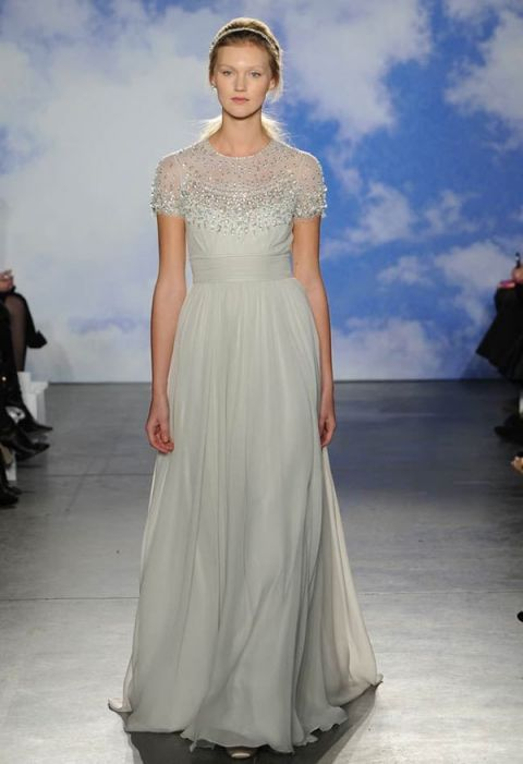 Brocade Wedding Dresses 45 Best Jeweled Bateau Neck Wedding