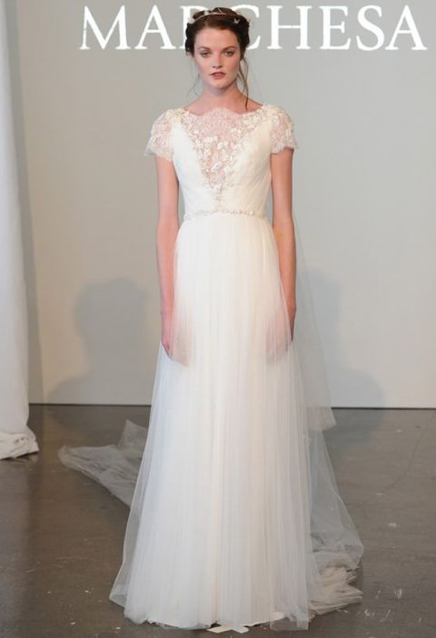 Lace Neckline And Cap Sleeves Marchesa See More Https Heyweddinglady