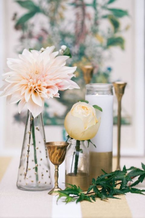 Gold DIY Centerpiece Vessels with Blush Pink Dahlias | Sara Logan Photography | See More! https://heyweddinglady.com/ethereal-woodland-wedding-inspiration-in-ivory-and-blush/