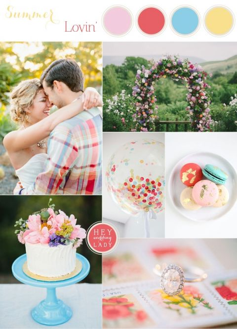 Casual and Colorful Summer Wedding Inspired by Grant Harrison | See More! https://heyweddinglady.com/casual-and-colorful-summer-wedding-inspiration-based-on-grant-harrison/