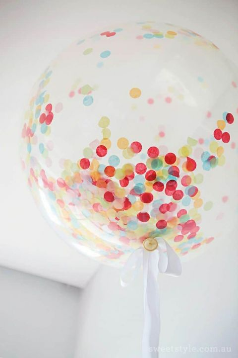 Colorful Confetti Filled Balloons | Sweet Style | See More: https://heyweddinglady.com/casual-and-colorful-summer-wedding-inspiration-based-on-grant-harrison/