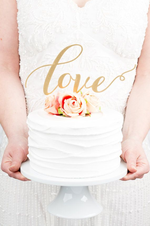 Gold Calligraphy Cake Topper  Better Off Wed  Preppy in Poppy http ...
