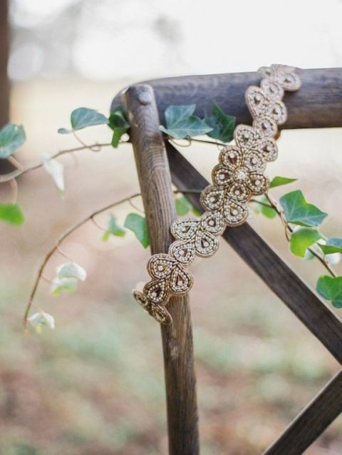 Bohemian Jeweled Bridal Headpiece | Paula Player Photography | See More! https://heyweddinglady.com/ethereal-woodland-wedding-inspiration-in-ivory-and-blush/