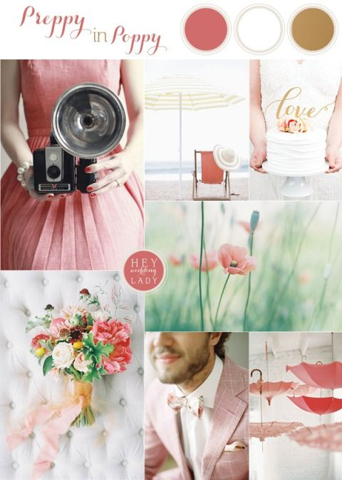 Preppy in Poppy Summer Wedding Inspiration with Adorable Retro Chic Style | See More! https://heyweddinglady.com/preppy-in-poppy-seaside-summer-wedding-inspiration/