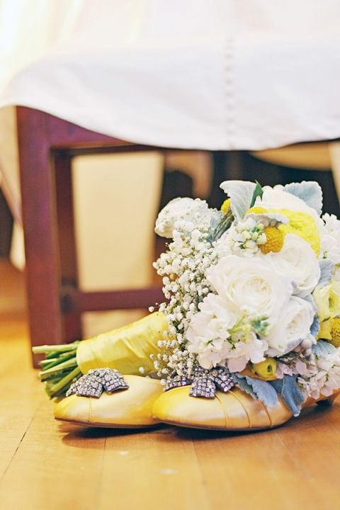 DIY Beaded Yellow Wedding Shoes | May Gunsul Photography | See More! https://heyweddinglady.com/fairy-tale-wedding-in-a-snowy-mountain-lodge-from-may-gunsul-photography/