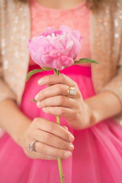 A Tulle Skirt, Pink Peony, and Glittering Blazer for a Fabulous Engagement Shoot | Sounds Like Yellow Photography | See More! https://heyweddinglady.com/glitter-and-peonies-and-cupcakes-oh-my-a-bake-shoppe-engagement-from-sounds-like-yellow-photography/