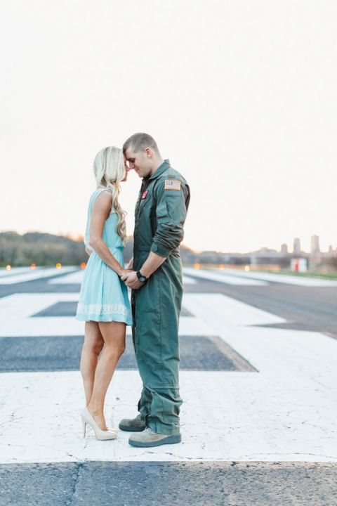A Romantic and Patriotic Engagement Shoot at an Air Field   JoPhoto   See more! https://heyweddinglady.com/patriotic-and-romantic-air-force-engagement-from-jophoto-for-memorial-day/?