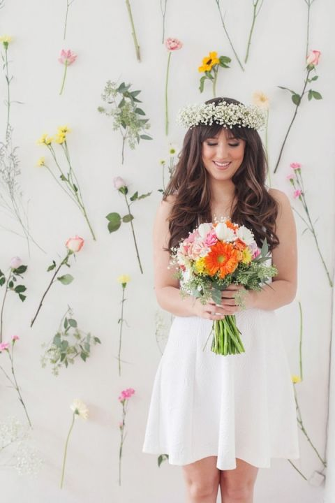 Sweet Sixties Styled Bride with A Flower Wall Backdrop   Studio Amy Luna Photography   See More! http://heyweddinglady.com/peace-and-love-the-sweetest-60s-styled-shoot-ever/