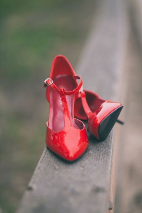 Vintage Inspired Red Patent Wedding Shoes for a Chic Nautical Beach Wedding Shoot | Alexandra Wallace Photography | See More! http://heyweddinglady.com/casual-chic-nautical-beach-styled-shoot-from-alexandra-wallace-photography/