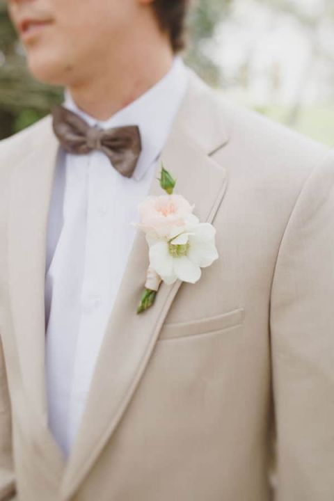 Tan Suit for a Southern Groom | Alyssa Morgan Photography | See More! http://heyweddinglady.com/classically-elegant-southern-spring-wedding-shoot-from-alyssa-morgan-photography/