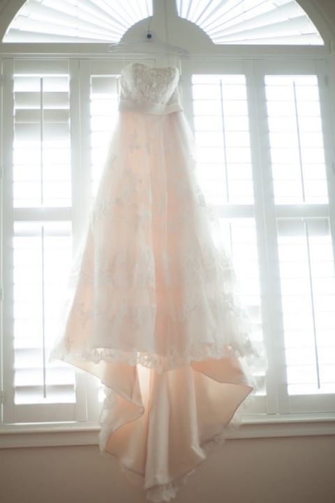 Romantic Vintage Blush and Lace Wedding Dress | Captured by Belinda | See more! http://heyweddinglady.com/ethereal-beach-wedding-after-the-storm-from-captured-by-belinda/