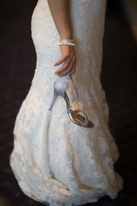 A Romantic Lace Mermaid Wedding Dress and Silver Shoes | Maru Photography | See More! http://heyweddinglady.com/glam-purple-and-green-enchanted-forest-wedding-from-maru-photography/