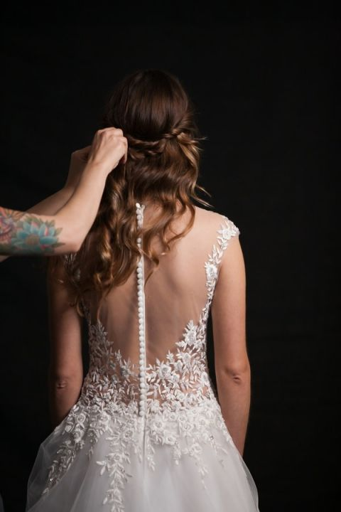 Branch and Flower Embroidered Illusion Back Wedding Dress | Robin McKerrell Photography | See More! https://heyweddinglady.com/the-couture-bride-dramatic-wedding-day-style-from-robin-mckerrell-photography/