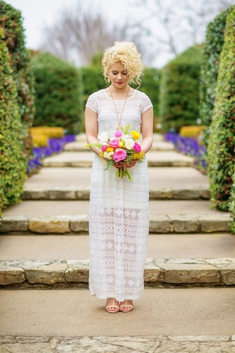 Boho Bridal Style in Bright Pink and Yellow at the Dallas Arboretum | Andrea Elizabeth Photography | See More! https://heyweddinglady.com/bright-pink-and-yellow-boho-bride-shoot-at-the-dallas-arboretum/