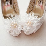 Floral Lace and Pearl Wedding Shoes | Weddings by Kara | See More! https://heyweddinglady.com/jazz-age-spring-wedding-in-ireland-by-weddings-by-kara/