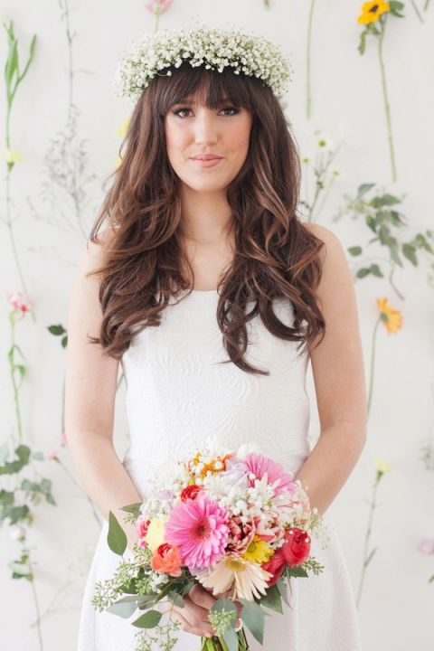 Cheerful Colorful Gerber Daisy Bouquet and a Bridal Crown of Babys Breath   Studio Amy Luna Photography   See More! http://heyweddinglady.com/peace-and-love-the-sweetest-60s-styled-shoot-ever/