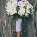 White and Navy Bridal Bouquet | Alexandra Wallace Photography | See More! https://heyweddinglady.com/casual-chic-nautical-beach-styled-shoot-from-alexandra-wallace-photography/