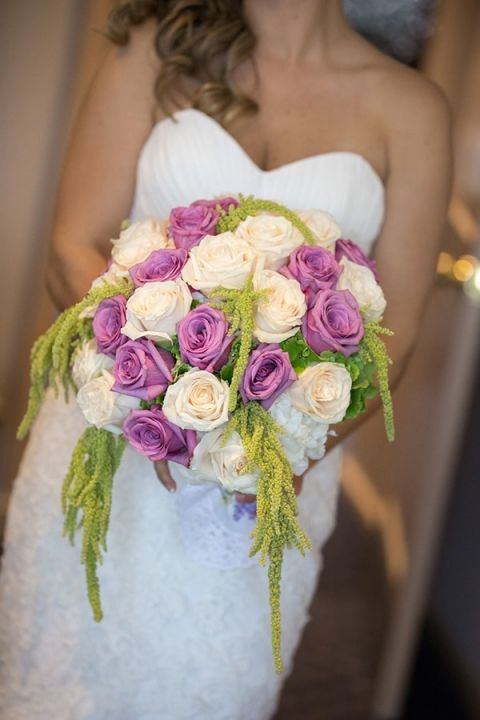 Romantic Purple, Green, and Ivory Bridal Bouquet | Maru Photography | See More! http://heyweddinglady.com/glam-purple-and-green-enchanted-forest-wedding-from-maru-photography/