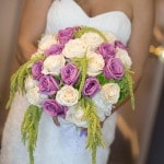 Romantic Purple, Green, and Ivory Bridal Bouquet | Maru Photography | See More! https://heyweddinglady.com/glam-purple-and-green-enchanted-forest-wedding-from-maru-photography/