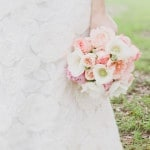 Romantic Floral Patterned Wedding Dress with Blush and Ivory Flowers | Alyssa Morgan Photography | See More! http://heyweddinglady.com/classically-elegant-southern-spring-wedding-shoot-from-alyssa-morgan-photography/