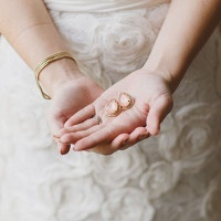 Elegant Floral Patterned Wedding Dress with Peach Chalcedony Earrings | Alyssa Morgan Photography | See More! https://heyweddinglady.com/classically-elegant-southern-spring-wedding-shoot-from-alyssa-morgan-photography/