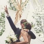 Elated Newlyweds after their Bohemian Woodland Wedding Ceremony   Bonnallie Brodeur Photography   See More! https://heyweddinglady.com/handmade-bohemian-woodland-wedding-from-bonnallie-brodeur-photography/