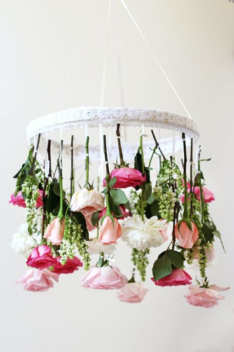 DIY Floral Chandelier for a Fun and Modern Bridal Shower | HonestlyWTF | See More! https://heyweddinglady.com/fabulous-fuchsia-bridal-shower-inspiration-wedding-paper-divas/