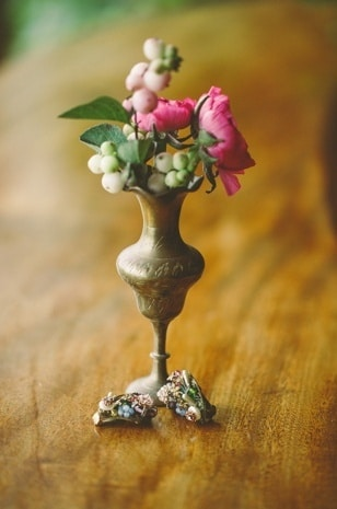 Antique Bronze Bud Vase Centerpiece | Paula O'Hara Photography | See More! https://heyweddinglady.com/rich-wild-summer-berry-wedding-inspiration/