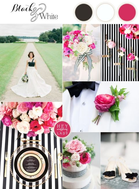 Chic And Modern Black White Wedding Inspiration With Brilliant Fuchsia See More Http
