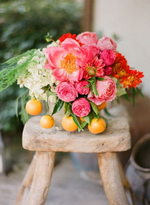 Coral Peony and Lemon Centerpiece | Esther Sun Photography | See More! https://heyweddinglady.com/summer-citrus-wedding-inspiration-in-coral-yellow-and-aqua/