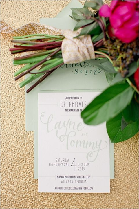 Gold Sparkle, Mint Wedding Invitation, and Berry Bouquet | Jeremy Harwell Photography | See More! https://heyweddinglady.com/rich-wild-summer-berry-wedding-inspiration/