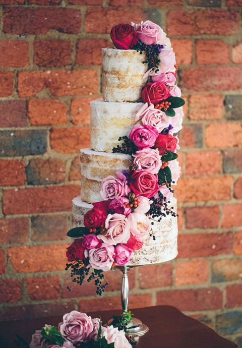 Rose Cascade Naked Wedding Cake | Made From Scratch | See More! https://heyweddinglady.com/rich-wild-summer-berry-wedding-inspiration/