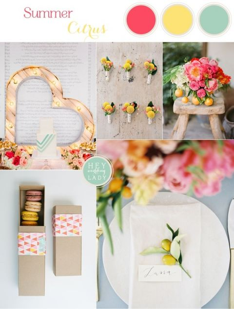 Summer Citrus - Modern Wedding Inspiration in Coral, Yellow, and Aqua | See More! https://heyweddinglady.com/summer-citrus-wedding-inspiration-in-coral-yellow-and-aqua/