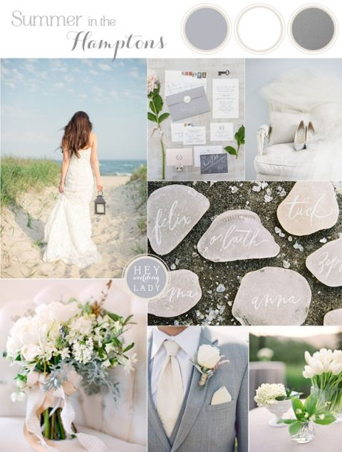 Summer in the Hamptons - Beach Chic Wedding Inspiration in White, Silver and Gray | See More! https://heyweddinglady.com/beach-chic-white-silver-gray-hamptons-wedding-inspiration/