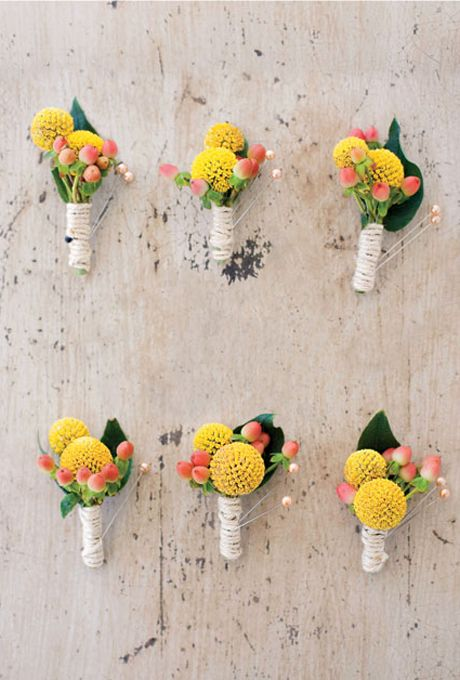 Yellow and Coral Billy Ball Boutonnieres | Corbin Gurkin Photography | See More! https://heyweddinglady.com/summer-citrus-wedding-inspiration-in-coral-yellow-and-aqua/