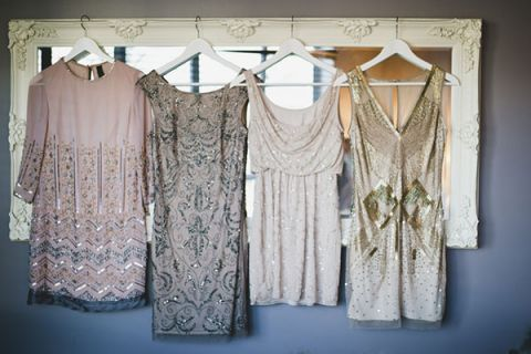 Bridesmaids Wore Glittering Vintage Cocktail Dresses | Anastasia Photography | See More! http://heyweddinglady.com/luxe-snowy-winter-wedding-from-anastasia-photography/