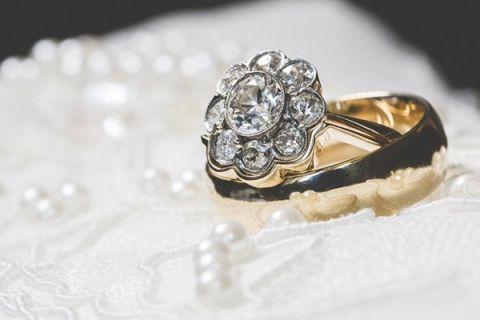 Vintage Pearl Wedding Ring 48 Good Vintage Flower Cluster Diamond