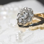 Vintage Flower Cluster Diamond Engagement Ring | Brit Jaye Photography | See More! http://heyweddinglady.com/vintage-nautical-wedding-on-a-yacht-from-brit-jaye-photography/